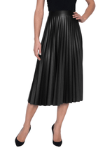 Frank Lyman Pleated Skirt with faux leather look