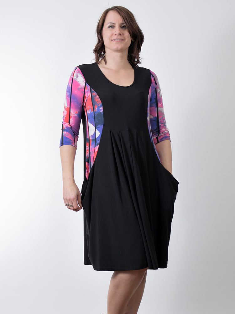 Pretty Woman Pocket Dress, Black Pink Red
