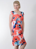 Pretty Woman Panel Dress, Orange Blue