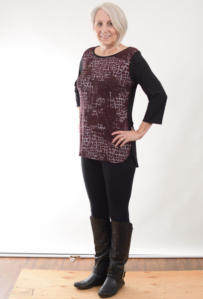 Pretty Woman Black Wine Tunic - one left, size Small