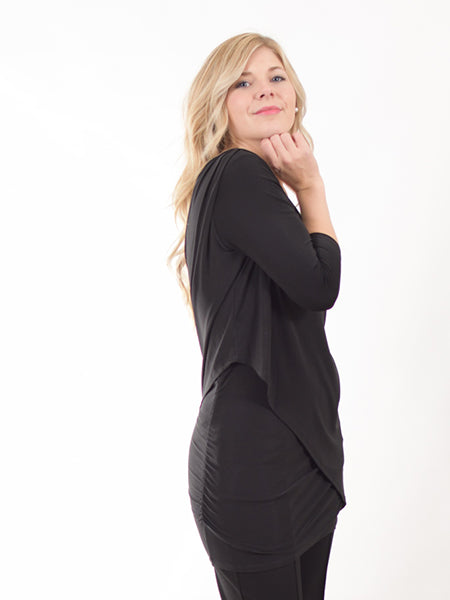 Pretty Woman Black Layered & Ruched Tunic