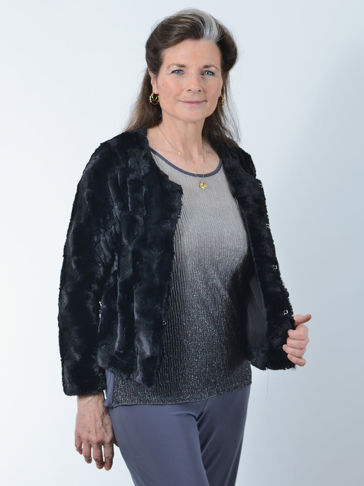 Pretty Woman Black Faux Fur Jacket