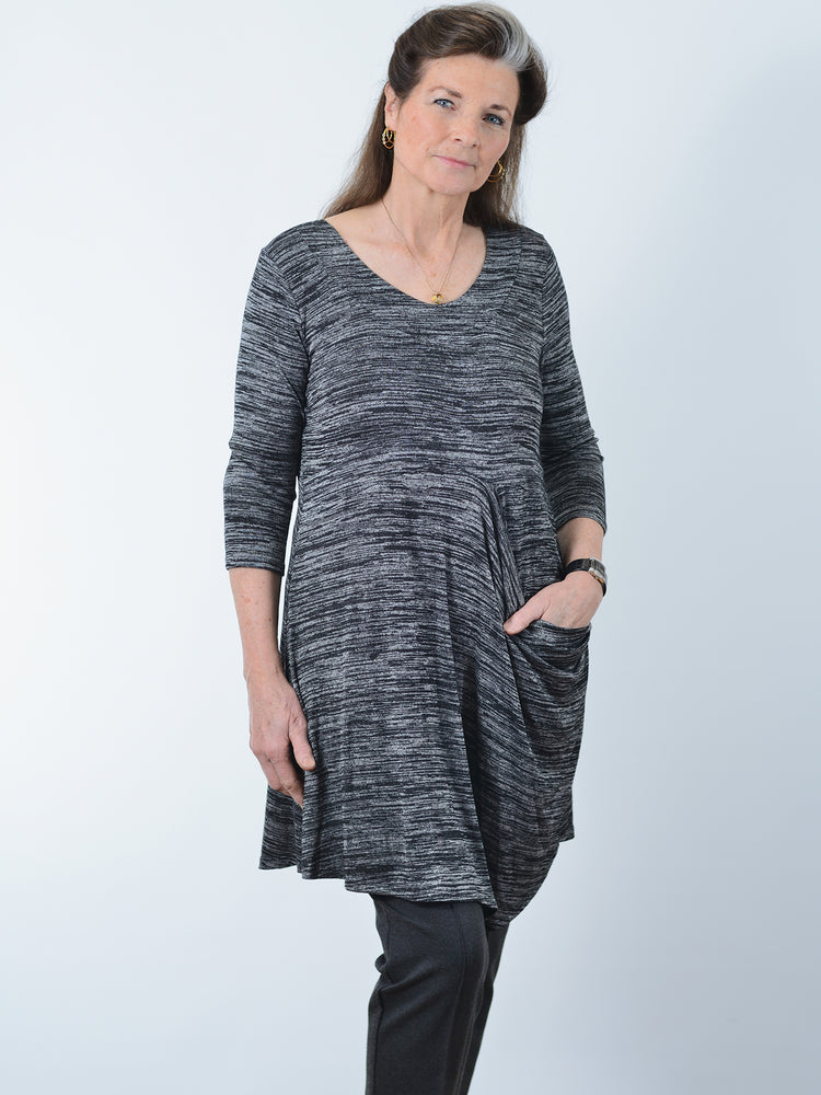 Pretty Woman Black Melange Pocket Tunic