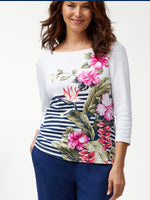 Tommy Bahama White Floral Top - size Large only