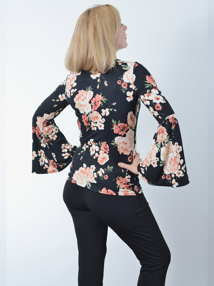 Black Blush Floral Top