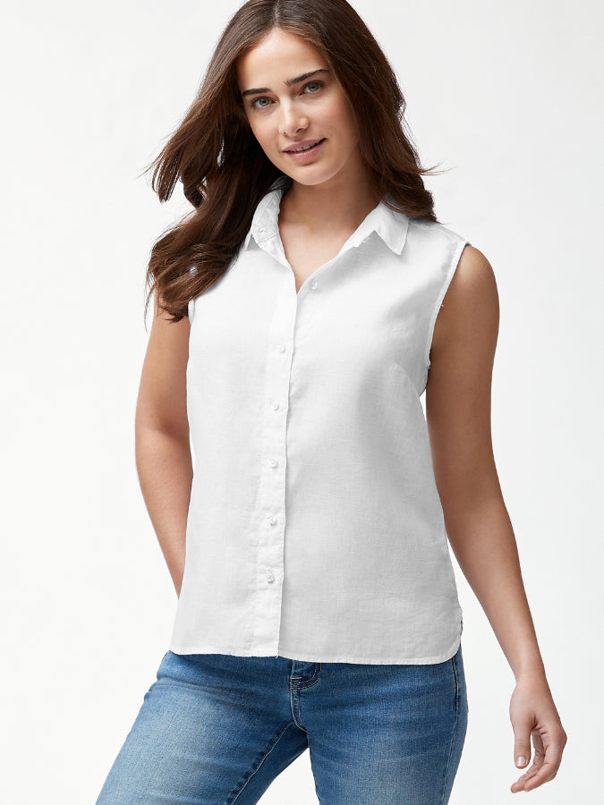 Tommy Bahama White Sleeveless Blouse