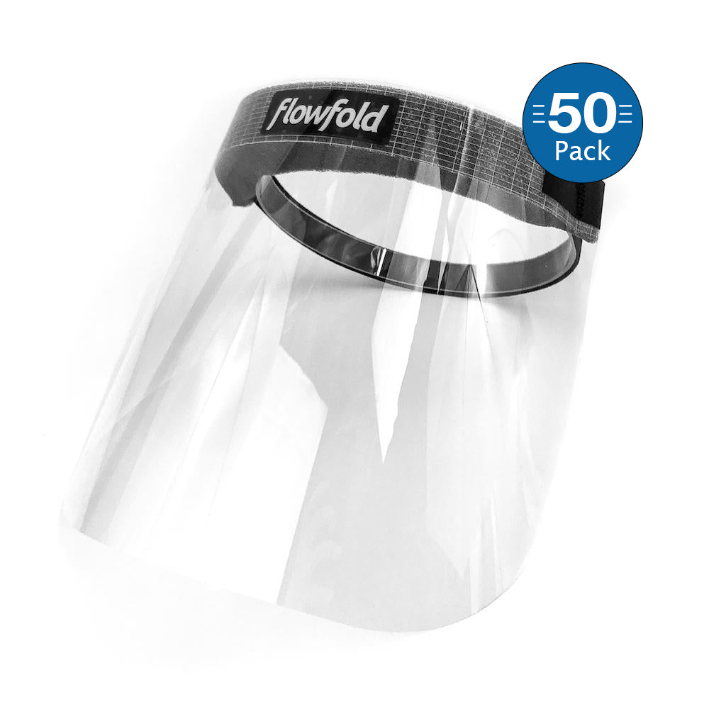 Flowfold Face Shields 50-Pack Plastic Face Shields, Anti-Fog Clear Face Shields for Restaurant Workers, Teachers, Everyday Individuals