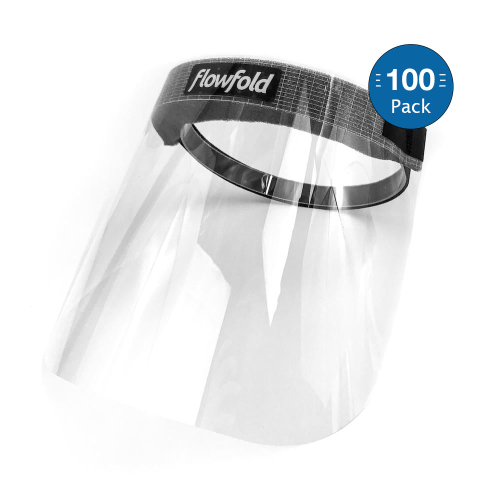 Flowfold Face Shields 100-Pack Bulk, Plastic Face Shields, Anti-Fog Clear Face Shields for Restaurant Workers, Teachers, Everyday Individuals