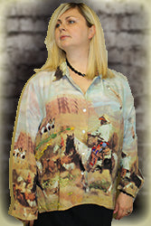 Nicole Taylor 100% Silk Beaded Button Down Blouse Western Cowboy