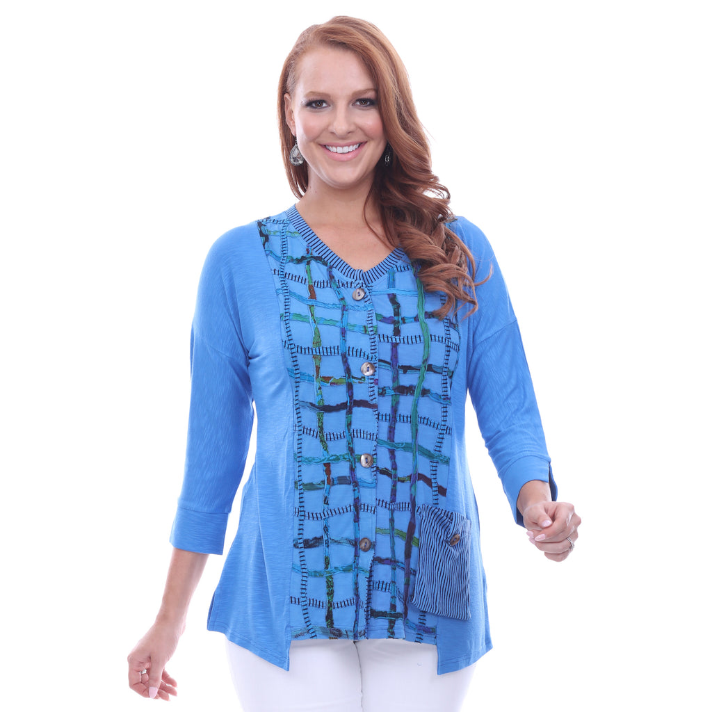 Parsley & Sage Plus Size Jodie Fancy Top - Blue