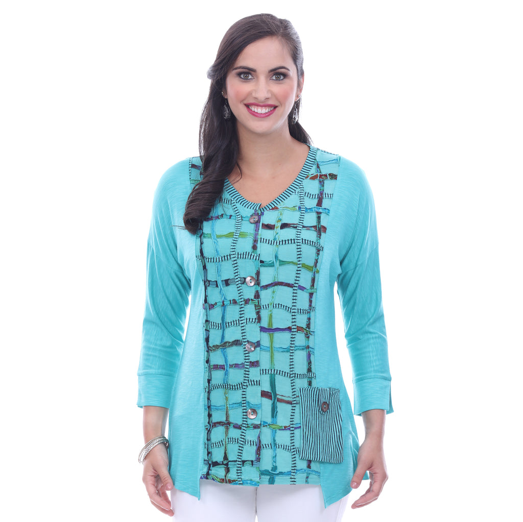 Parsley & Sage Plus Size Jodie Fancy Top - Sea Green 18T21C17