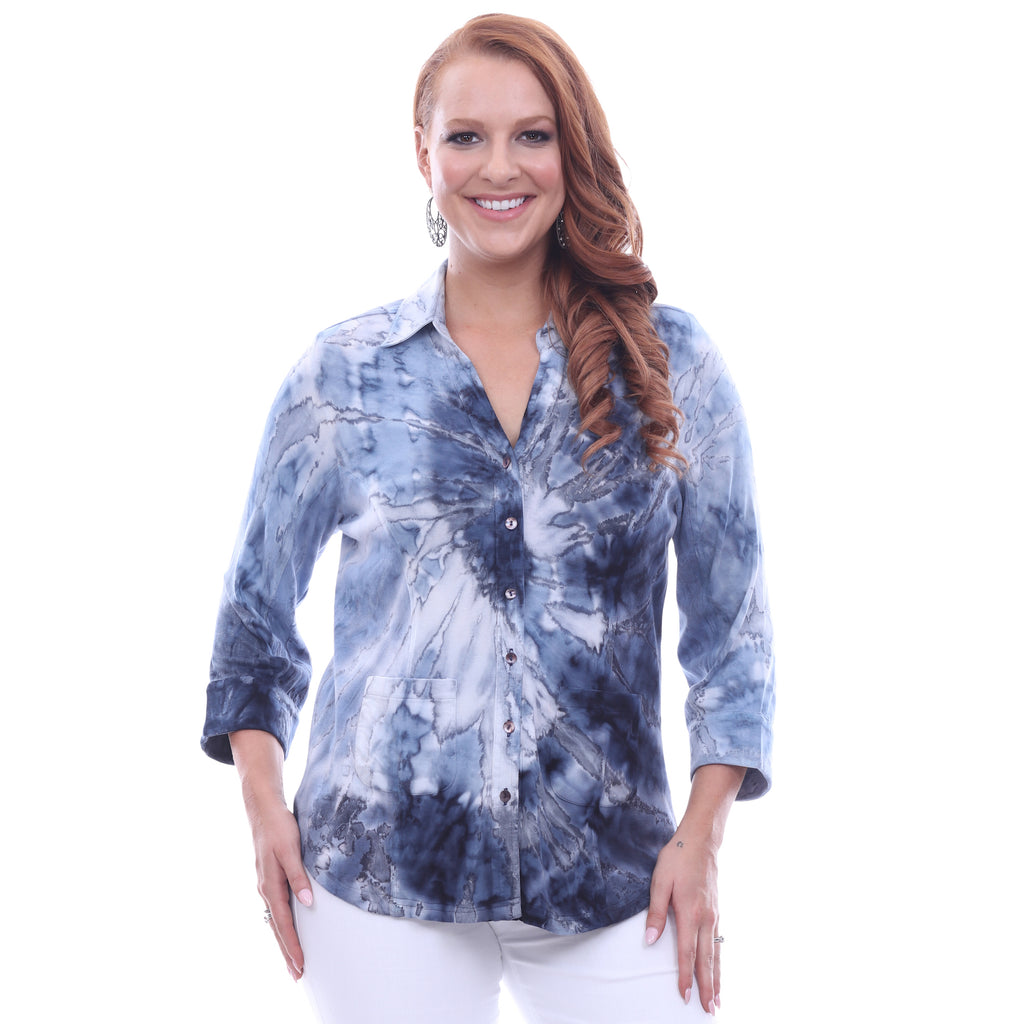 Parsley & Sage Plus Size Kara Shirt 18T85G