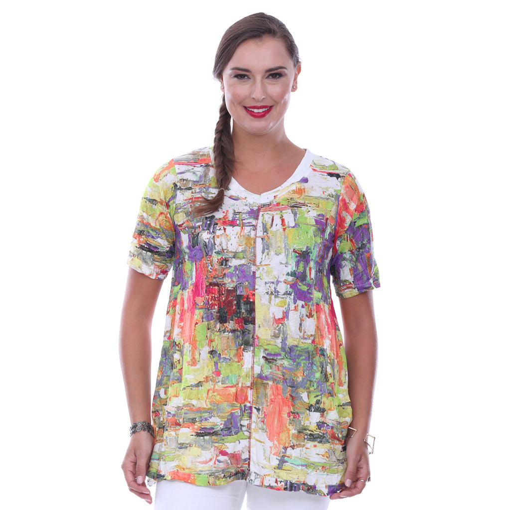 Parsley & Sage Plus Size Kara Short Sleeve Top 18T85TB