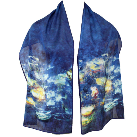Cocoon House Monet Water Lilies Silk Scarf