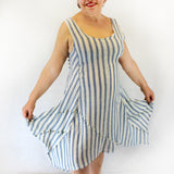 Yuvita Plus Size Linen Gauze Sleeveless Handkerchief Dress - Denim Stripe