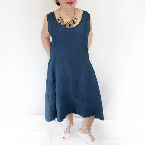 Yuvita Plus Size Linen Flax Sleeveless Handkerchief Dress - Blue