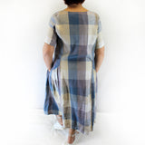Yuvita Plus Size Linen Short Sleeve Pocket Dress - Blue Plaid