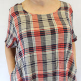 Yuvita Plus Size Linen Flax Short Sleeve A-Line Dress - Red Navy Plaid