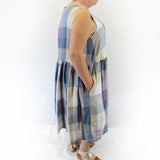 Yuvita Plus Size Linen Sleeveless Pocket Dress - Blue Plaid