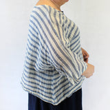 Yuvita Plus Size Linen Gauze Denim Stripe Topper