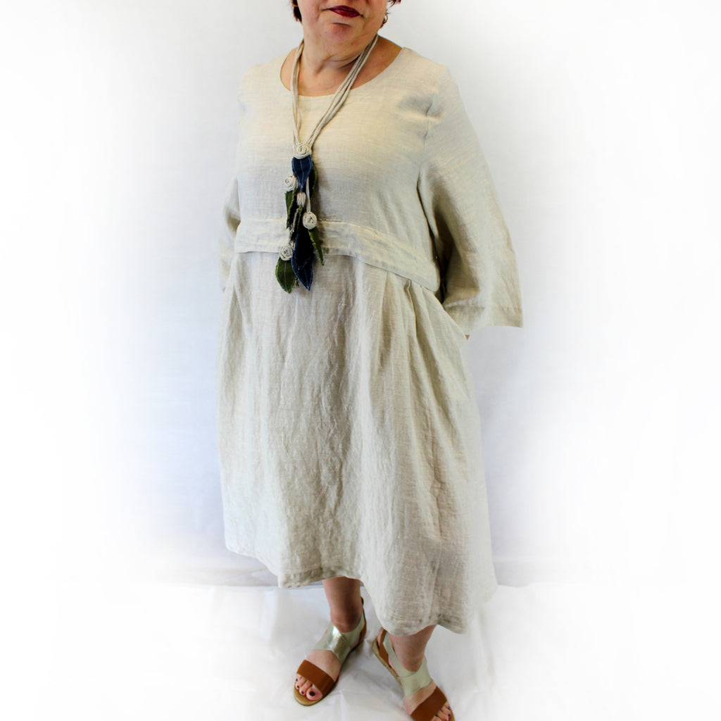 Yuvita Plus Size Linen Flax Peasant Dress - Natural