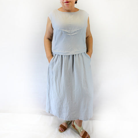 Yuvita Plus Size Linen Flax Sleeveless Pleated Dress - Sky Blue