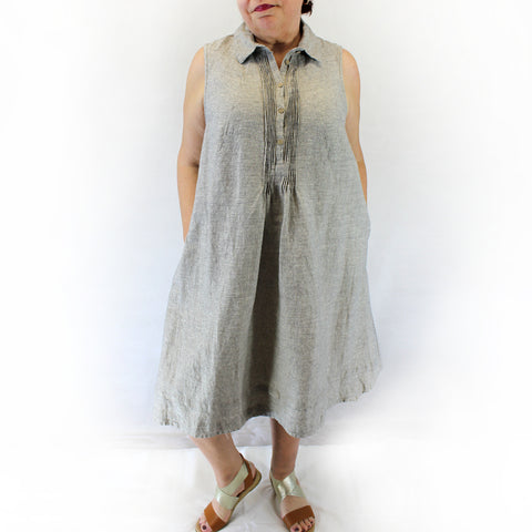 Yuvita Plus Size Linen Shirt Dress - Gray Pinstripe