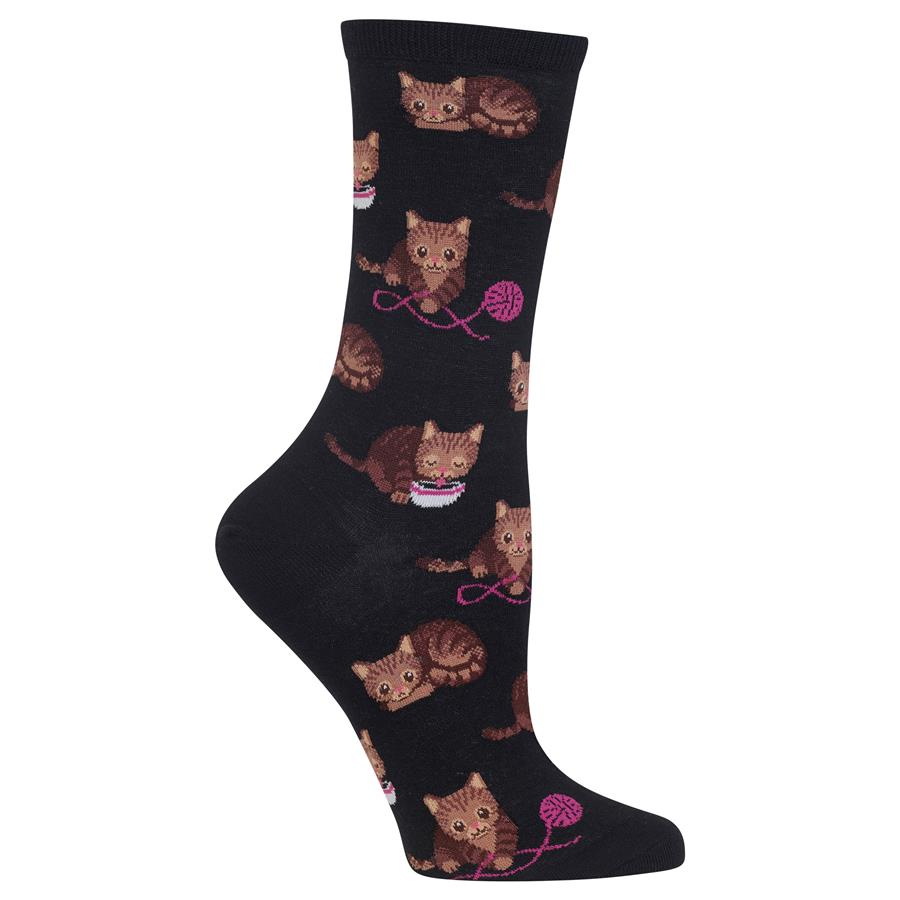 Hot Sox - Cat & Yarn Socks (Black)