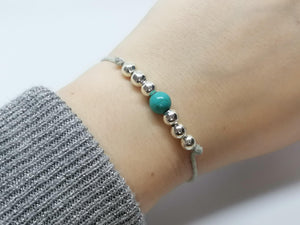 Cord Fidget Bracelet - Large Beads - Turquoise - Cord