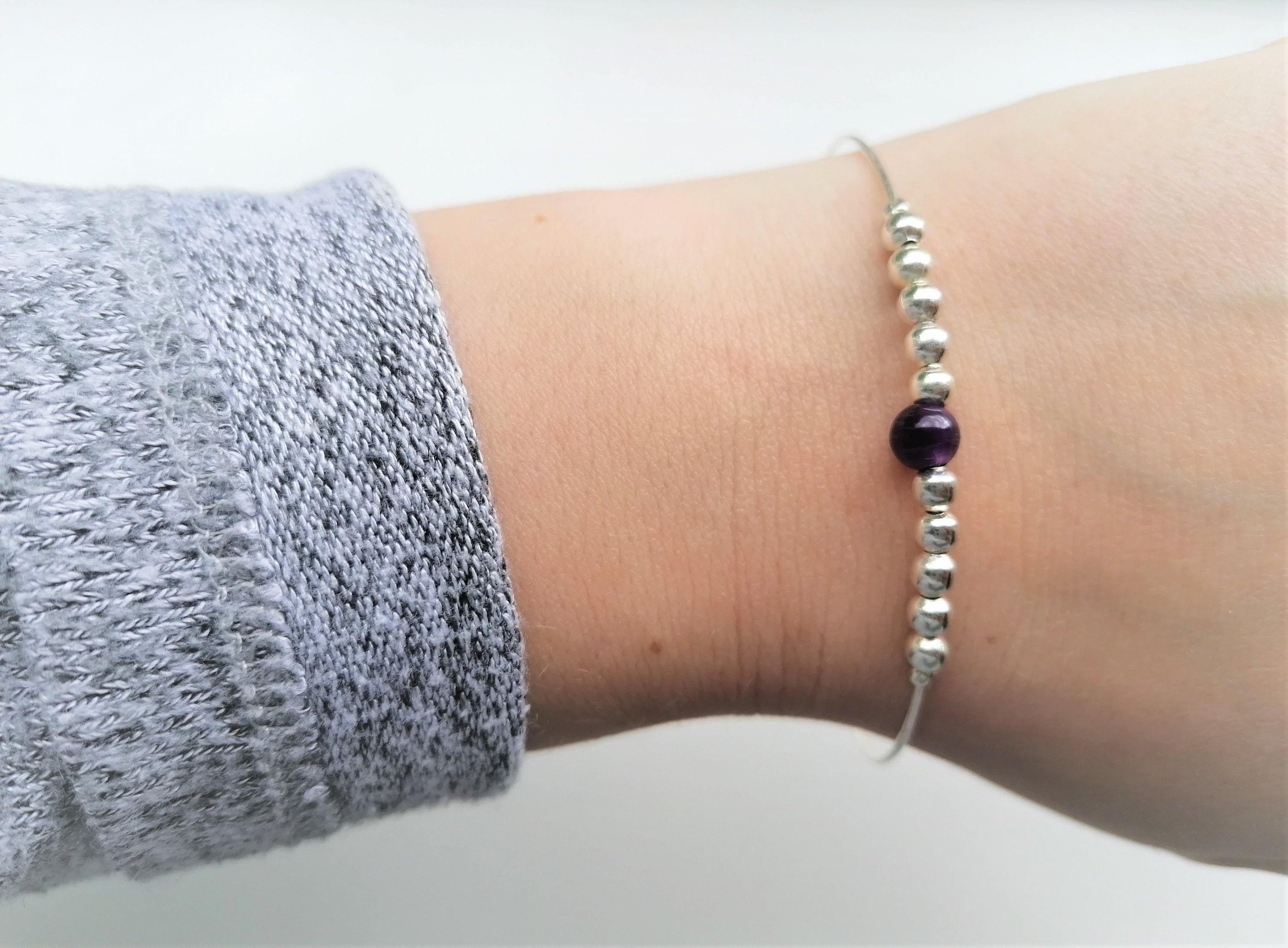 Amethyst Fidget Bangle - Small Beads - Worry Knot