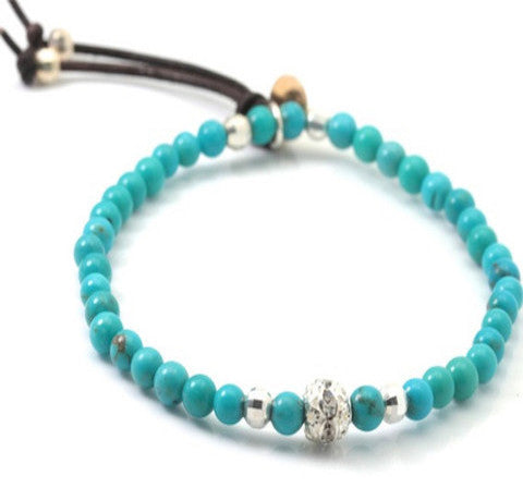 Dipa turquoise and sterling silver barrel with crystal swarovsky bracelet
