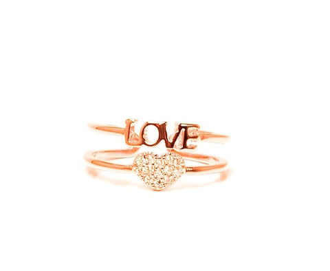 Love diamond zirconia open ring - Pink gold plated