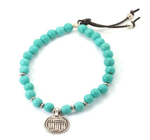 Temple charm sterling silver on sky blue stone - bracelet