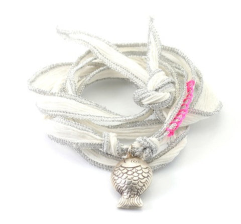 Fish Sterling Silver - silk cord wrap