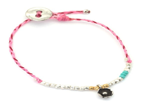 Rose charm beaded and waxed cord bracelet