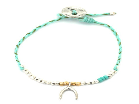 Wishbone charm beaded and waxed cord bracelet