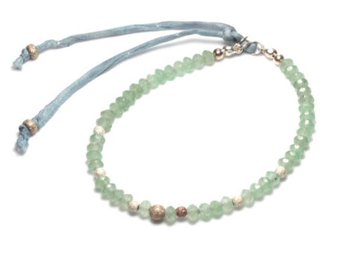 Melanie Faceted green aventurine and sterling silver stardust bracelet