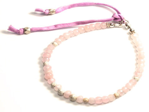 Sandra faceted light pink jade and sterling silver stardust bracelet