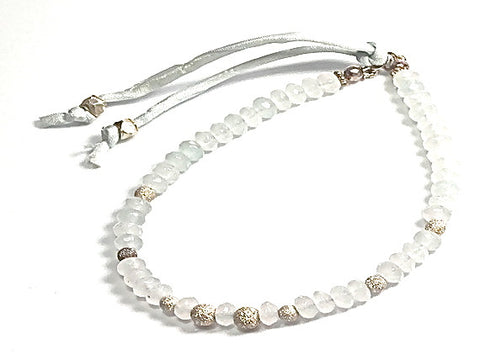 Scarlett faceted light grey jade and sterling silver stardust - bracelet