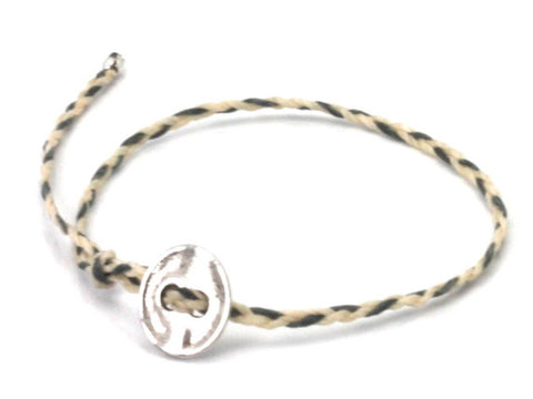 Lanna dark grey / off white waxed cord bracelet