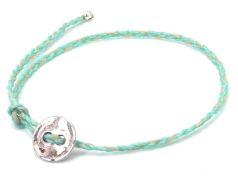 Lanna turquoise / off white waxed cord bracelet
