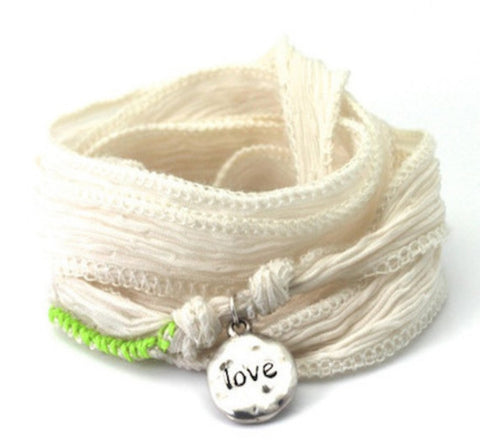 Love sterling silver - silk cord wrap