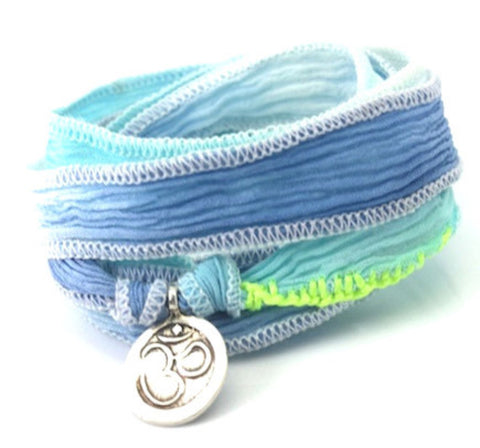 Om sterling silver - silk cord wrap