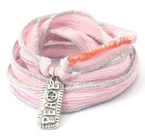 Lola peace sterling silver - silk cord wrap