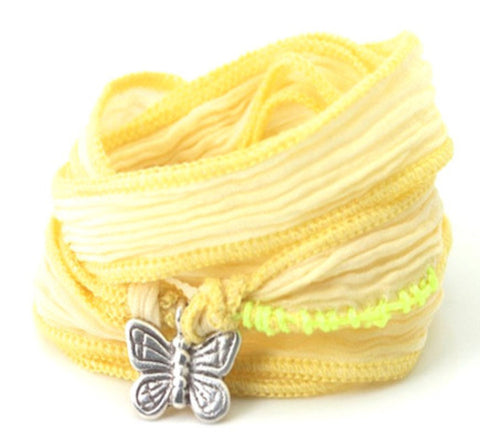 Butterfly sterling silver - silk cord wrap
