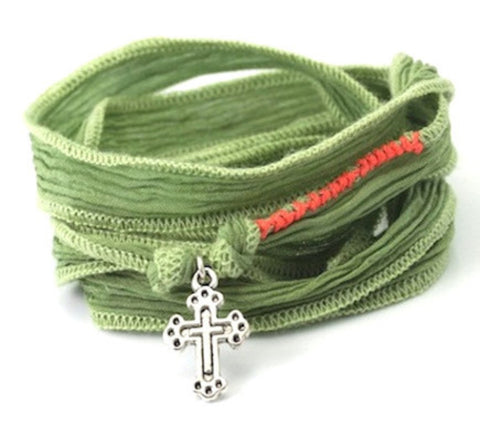 Little cross sterling silver - silk cord wrap