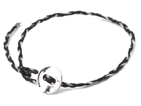 Lanna black / white waxed cord bracelet