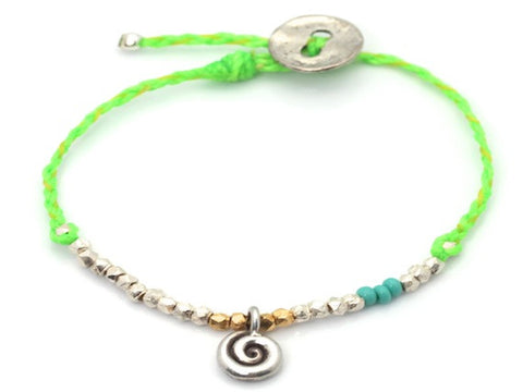 Tourbillon charm beaded and wave cord - bracelet