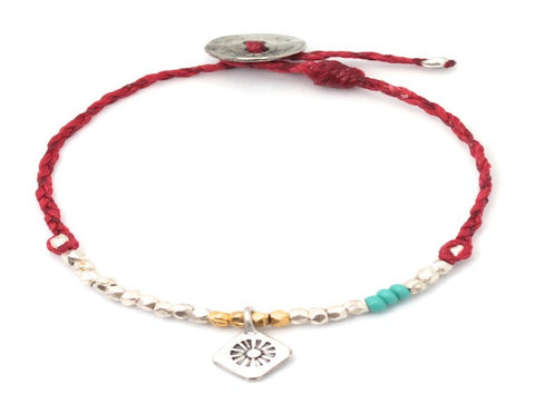 Soleil charm beaded and waxed cord - bracelet