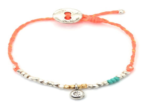 Sun charm beaded and waxed cord bracelet